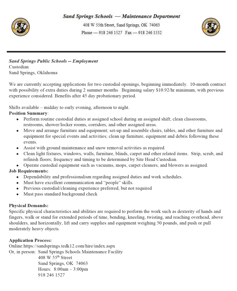 2 Custodian Job Openings