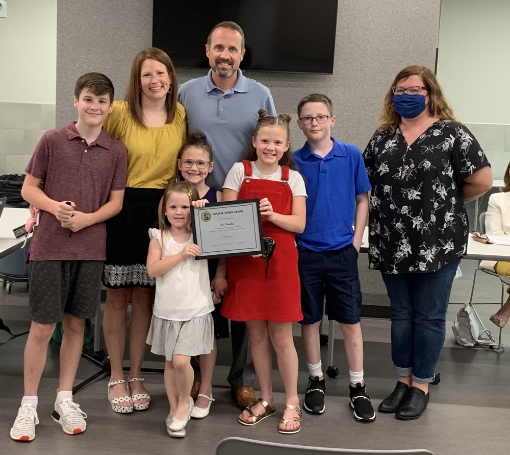 Fitz Family Receives Sandite Spirit Award at Board of Education Meeting