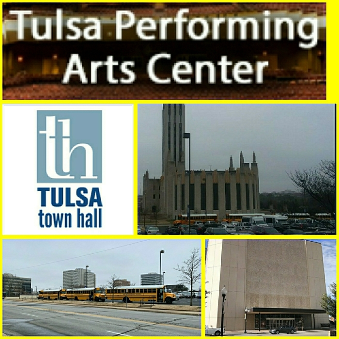 PAC & Tulsa Town Hall logos, Boston Methodist & picture of parked buses.