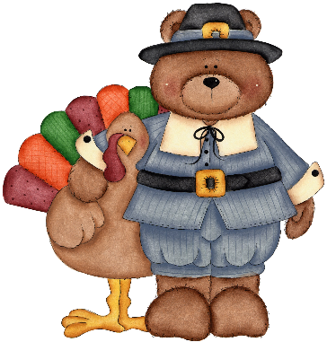 Friendly Bear in pilgrim outfit Hugging a Turkey