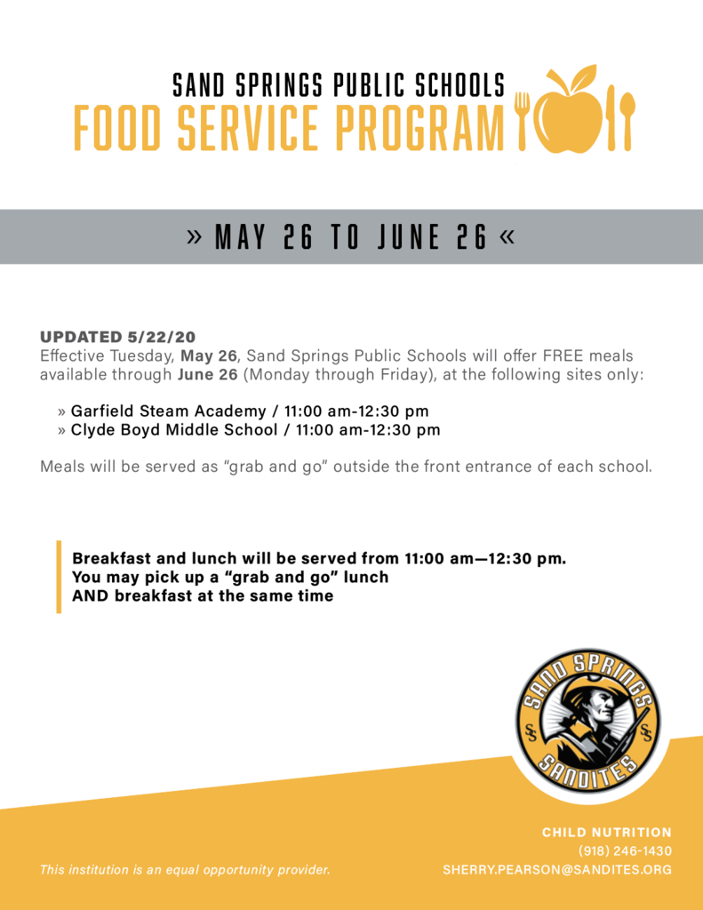 Free Meals Available at 2 School Sites